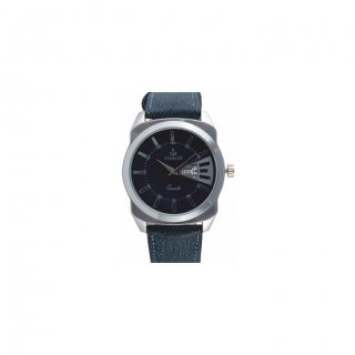 Personalized Fashion Blue Metal Dial Day-Date Wrist Watch