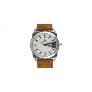 Personalized Fashion Tan Metal Dial Day-Date Wrist Watch