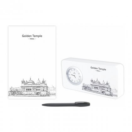 Personalized Golden Temple Gift Set Of Three (Table Clock Softcover Notebook & Pen)