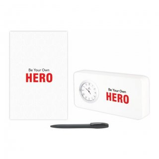 Personalized Hero Gift Set Of Three (Table Clock Softcover Notebook & Pen)
