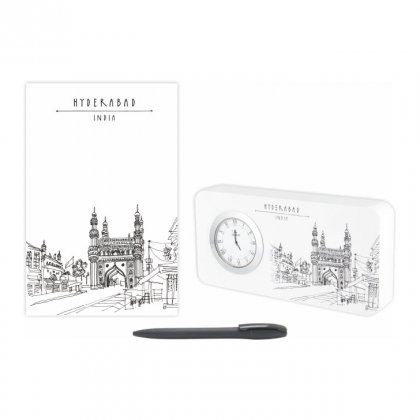 Personalized Hyderabad Gift Set Of Three (Table Clock Softcover Notebook & Pen)