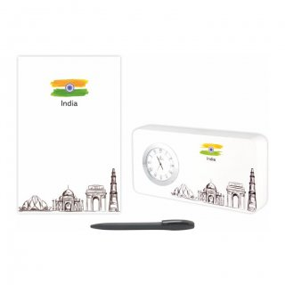Personalized India Gift Set Of Three (Table Clock Softcover Notebook & Pen)