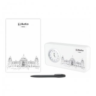 Personalized Kolkata Gift Set Of Three (Table Clock Softcover Notebook & Pen)