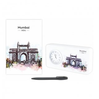 Personalized Mumbai Gift Set Of Three (Table Clock Softcover Notebook & Pen)