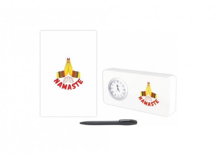 Personalized Namaste Gift Set Of Three (Table Clock Softcover Notebook & Pen)