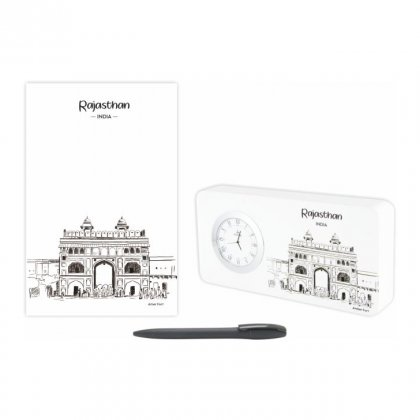 Personalized Rajasthan Gift Set Of Three (Table Clock Softcover Notebook & Pen)
