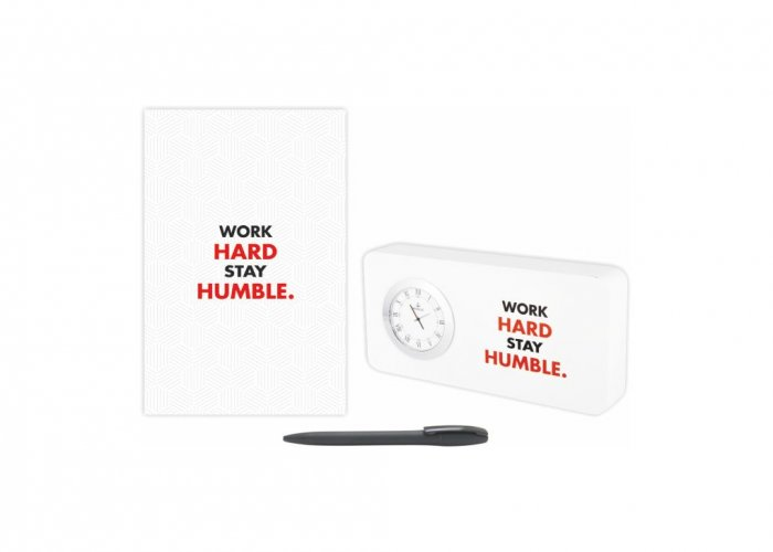 Personalized Work Hard Gift Set Of Three (Table Clock Softcover Notebook & Pen)