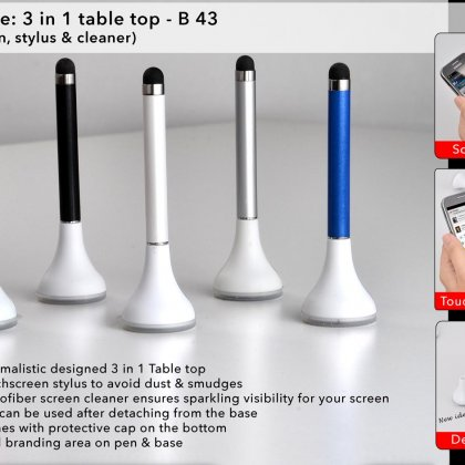 Personalized plungee: 3 in 1 table top (pen with stylus and cleaner)