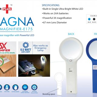 Personalized power plus magna: magnifier with lamp function(with half watt led)