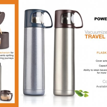 Personalized power plus vacuumized travel flask (500 ml approx)