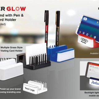Personalized Powerglow Mobile Stand With Pen And Visiting Card Holder (Grass Style)