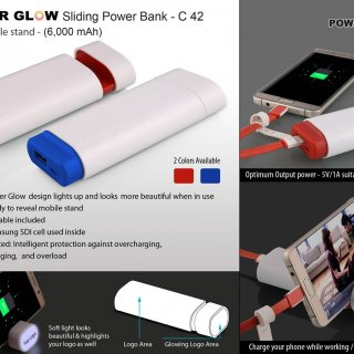 Personalized powerglow sliding power bank with mobile stand