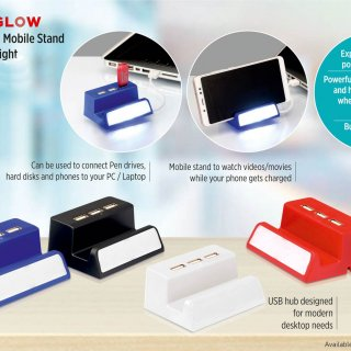 Personalized Powerglow Usb Hub With Mobile Stand And Logo Highlight (Top Usb)