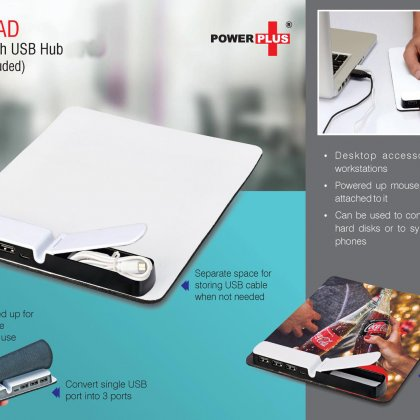 Personalized Powerpad: Mouse Pad With USB Hub (USB Cable Included)