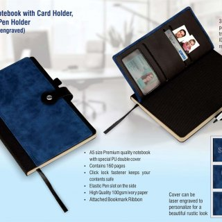 Personalized Premium Notebook With Card Holder, Bookmark, Pen Holder (Can Be Laser Engraved)