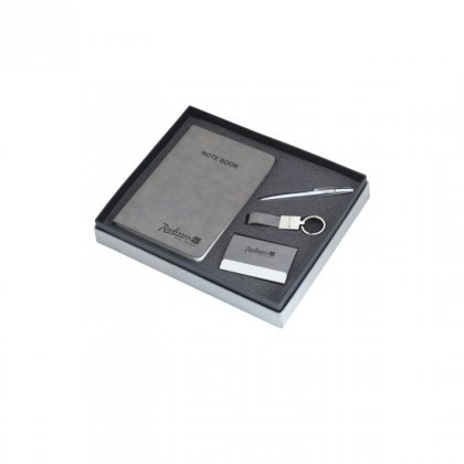 Personalized Raddisson Blue (Grey Note Book+Pen+Key-Chain + Visiting Card) Gift Set