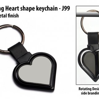 Personalized rotating heart shape keychain