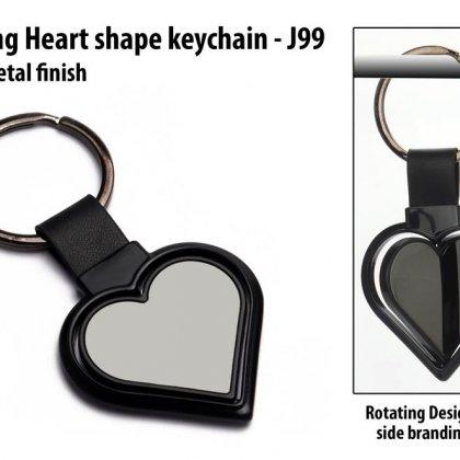 Personalized rotating heart shape keychain