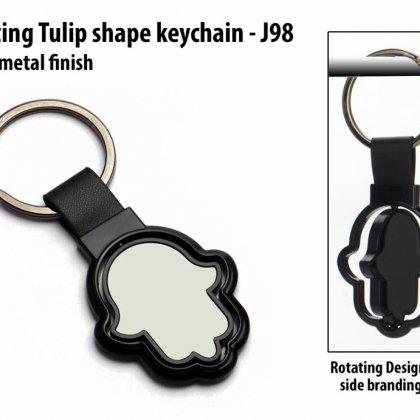 Personalized rotating tulip shape keychain