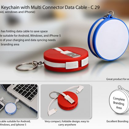 Personalized round data cable with keyring (for android / windows / iphone)