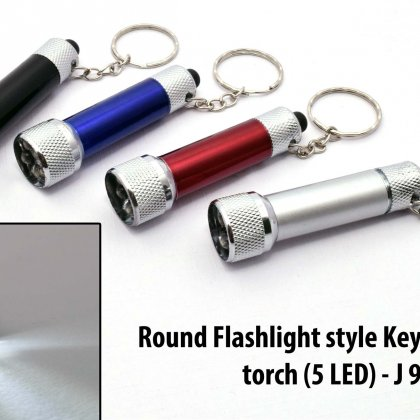 Personalized round flashlight style keychain with torch (5 led)