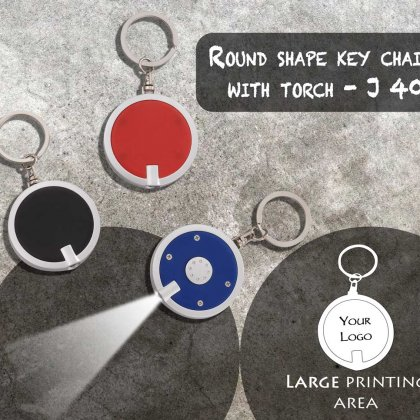 Personalized round shape keychain with torch
