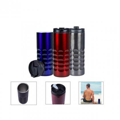 Personalized S.S.Travel Mug (470Ml) (A Q U A - Trendy) / Dark Gray, Red