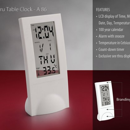 Personalized see thru table clock