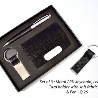 Personalized set of 3 : metal / pu keychain with soft fabric feel (j100), leatherette card holder with soft fabric feel (b63) & pen