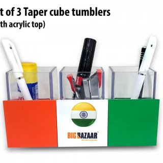 Personalized Set Of 3 Taper Cube Tumblers With Acrylic Top