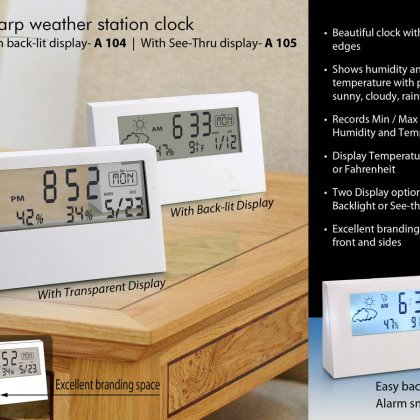 Personalized sharp weather station clock with backlight