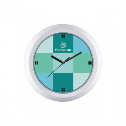 "Personalized Sheraton Chrome Plated Wall Clock (9.5"" Dia)"