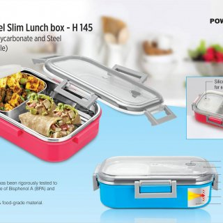 Personalized sigma poly-steel slim lunch box (made of polycarbonate and steel) (unbreakable)