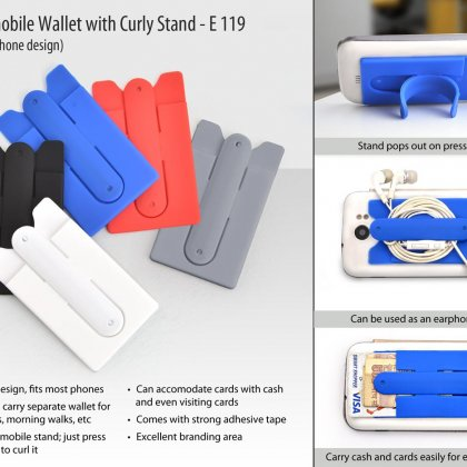 Personalized silicon mobile wallet with curly stand (with optional branding, rs 5 extra)