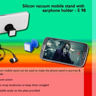 Personalized silicon vacuum mobile stand with earphone holder