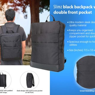 Personalized Slimz Black Backpack With Double Front Pocket