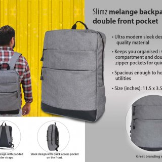 Personalized Slimz Gray Backpack With Double Front Pocket