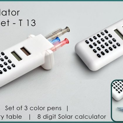 Personalized solar calculator with 3 pen set
