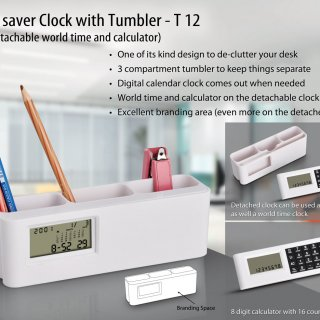 Personalized space saver clock with tumbler (with detachable world time calculator) (with battery)