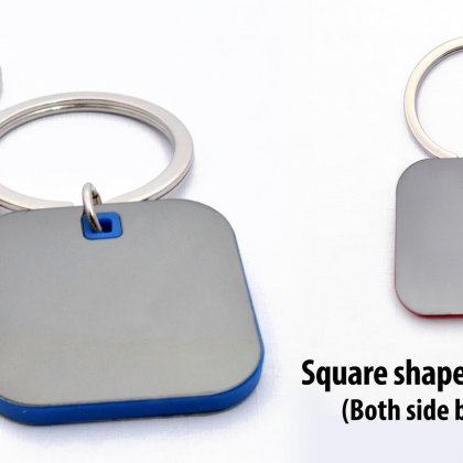 Personalized square shape keychain with highlights