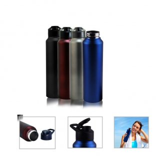 Personalized Stainless Steel Sports Bottle - 1000Ml (Bpa Free) (J O T T E R S - Omega) / Black, Blue, Red Wine, Silver