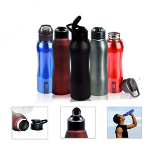 Personalized Stainless Steel Sports Bottle - 750Ml (Bpa Free) (J O T T E R S - Elektra Flip) / Black, Blue, Red