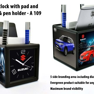 Personalized table clock with pad and mobile holder (4 side branding area) (branding included) (moq: 100)