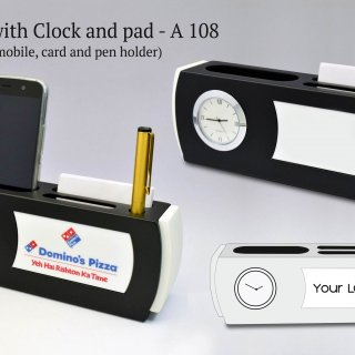 Personalized table top with clock and pad (with mobile,card and pen holder) (branding included) (moq: 100)