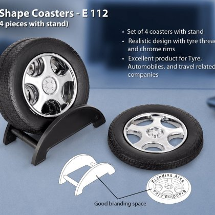 Personalized tyre shape coaster set with stand (4 pcs)