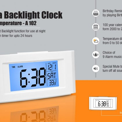 Personalized vista backlight clock with temperature