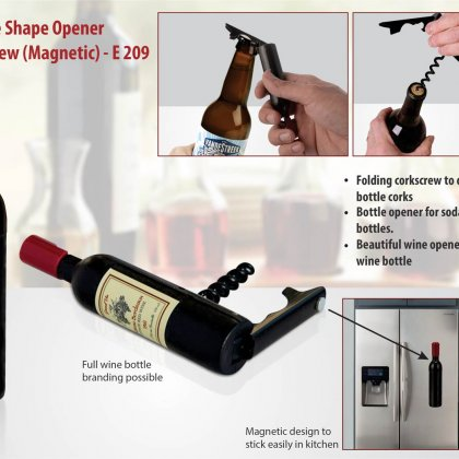 Personalized Wine Bottle Shape Wine And Bottle Opener (Magnetic)