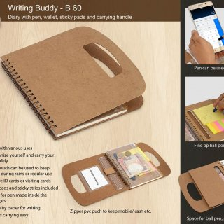 Personalized Writing Buddy: Diary With Pen, Wallet, Sticky Pads And Carrying Handle (60 Sheets)