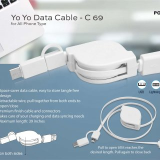 Personalized Yo Yo 3 In 1 Data & Charging Cable (With USB C Type Port)
