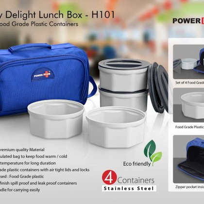 Personalized zippy delight: 4 container lunch box (plastic containers)